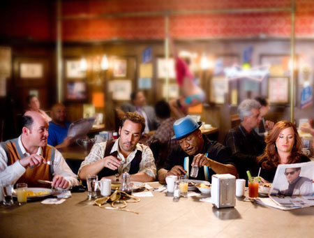 "(Left to right) Brent Gage (David Koechner), Don Ready (Jeremy Piven), Jibby Newsome (Ving Rhames) and Babs Merrick (Kathryn Hahn), in the comedy ""The Goods: LIVE HARD, SELL HARD."" Photo Credit: Sam Emerson Copyright © 2009 by PARAMOUNT VANTAGE, a division of PARAMOUNT PICTURES CORPORATION. All Rights Reserved."