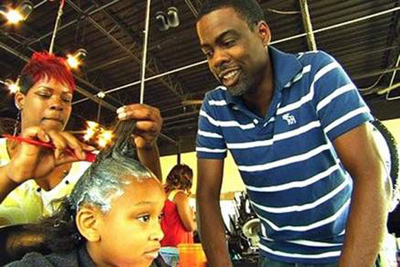 Chris Rock and a hairstylist in Roadside Attractions' documentary, GOOD HAIR.