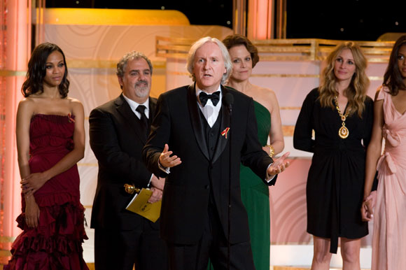 After receiving The Golden Globe for BEST MOTION PICTURE DRAMA for AVATAR, produced by Lightstorm Entertainment; Twentieth Century Fox, (L-R) Zoe Saldana, producer Jon Landau, James Cameron and Sigourney Weaver at the 67th Annual Golden Globe Awards at the Beverly Hilton in Beverly Hills, CA Sunday, January 17, 2010.